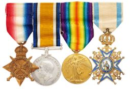 WW1 3rd Bn Gordon Highlanders Officer's Order of Sava Group of Four Medals.