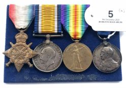 WW1 Royal Navy Long Service Group of Four Medals.