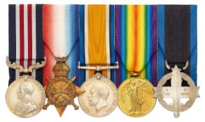 WW1 Welsh Regiment Cardiff Pals Military Medal, Greek Military Cross Group of Five Medals.