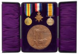 WW1 Casualty 1/4th Bn Oxfordshire & Buckinghamshire Light Infantry Medal Group.