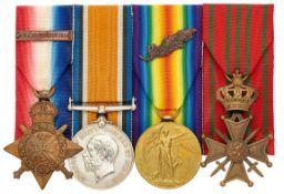 WW1 2nd Bn Royal Scots Fusiliers MID Belgian Croix de Guerre Group of Four Medals.