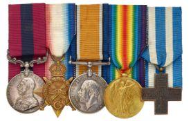 WW1 8th (Pontefact) Bn York & Lancashire Regiment DCM, Italian Croce de Guerra Group of Five Medals.