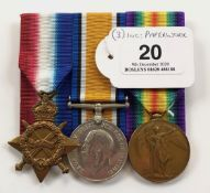 WW1 Durham Light Infantry / Yorkshire Regiment Group of Three Medals.