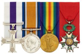 WW1 8th BN Royal Scots Fusiliers Military Cross Legion d'Honneur Group of Four Medals.