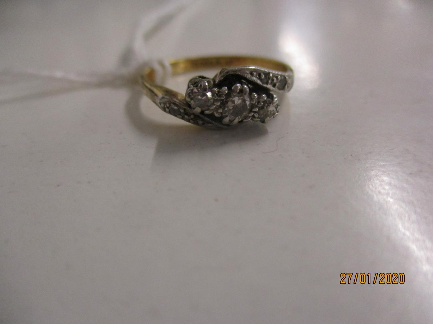 Lot 278 - An 18ct gold and platinum diamond ring Location: CAB