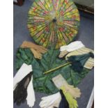 Two mid 20th century oriental style parasols depicting tulips, together with an early 20th century