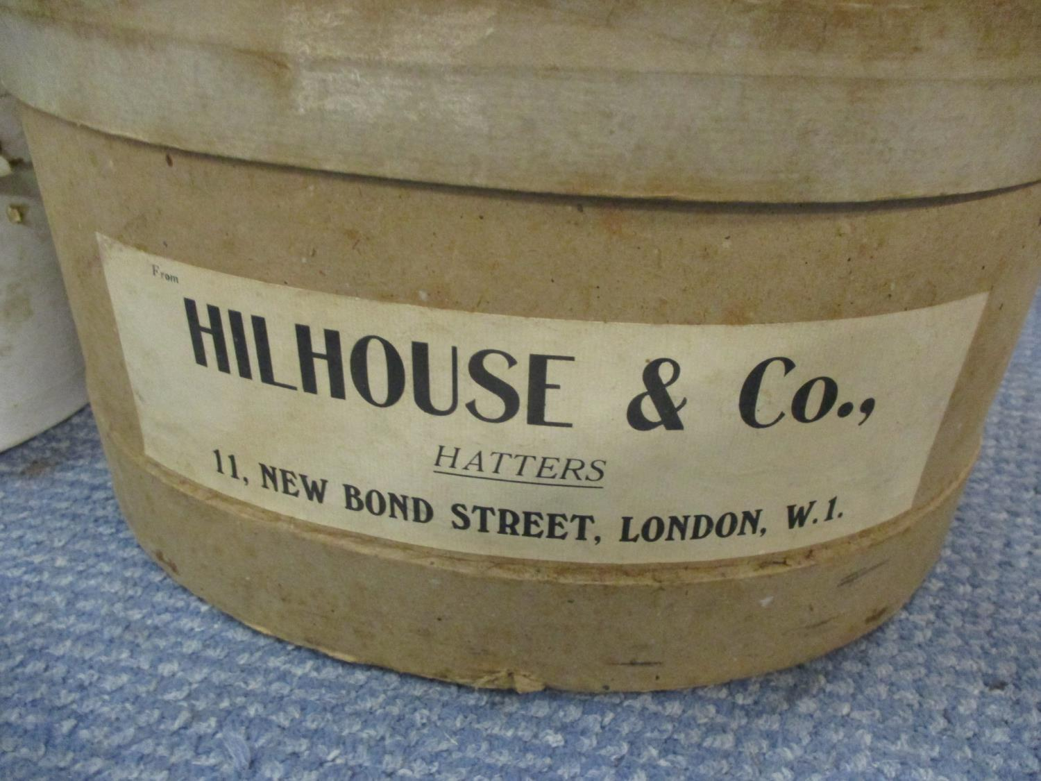 Hillhouse & Co, three gents hats comprising a bowler hat and two grey top hats together with three - Image 2 of 2