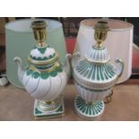 Two Italian porcelain Manifattura large lamp bases with shades