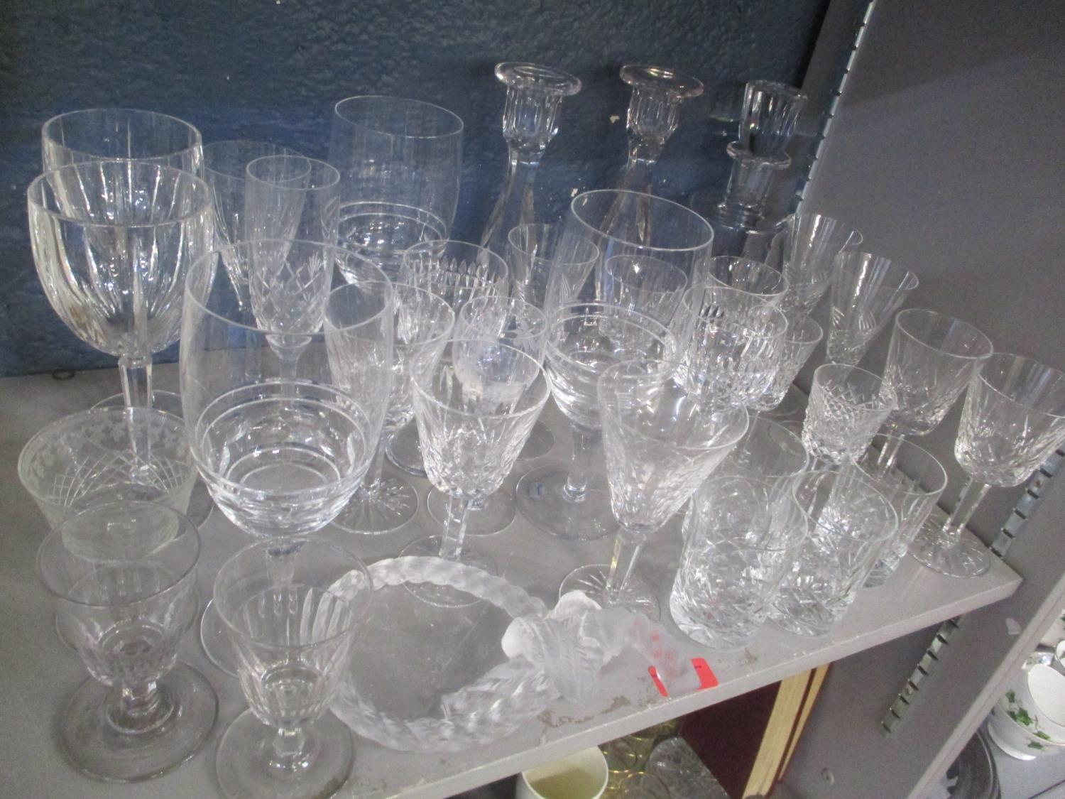 Mixed crystal glassware to include Waterford Lismore, Baccarat decanter and others