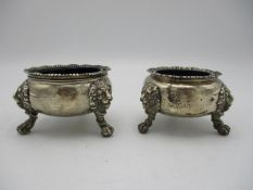 A near pair of silver salts, one Victorian, London 1885 by William Evans, the other George V period,