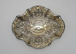 A late Victorian silver dish, Sheffield 1898, possibly by Joseph Rodgers & Sons, of lobbed shape