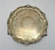 A Victorian silver waiter by Edward John, Barnard London 1852 with Chippendale border, engraved with