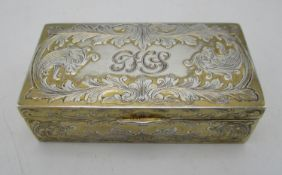A continental sterling silver snuff box, of rectangular shape with scrolled acanthus motifs