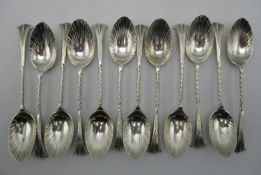 A Victorian silver set of twelve coffee spoons by George Maudsley Jackson, London 1888, in the
