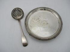 A George III silver card tray by Rebecca & Williams Emes, London 1808, of circular form with egg and