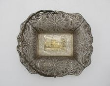 A Victorian filigree silver basket by Taylor and Perry, Birmingham 1842, with swivel handle, the