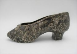 A 19th century Continental silver model of a shoe, imported by Edwin Thompson Bryant, 1895, with
