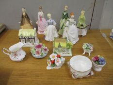 Six Royal Worcester figure of ladies, two Coalport model houses and other ceramics