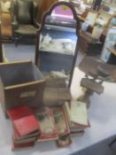 A mixed lot to include a selection of ordnance maps, dressing table mirror and a set of scales