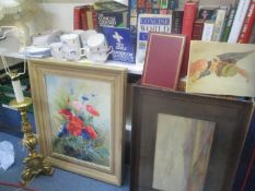 A mixed lot to include a selection of books, Royal Albert and Royal Doulton china, two table lamps