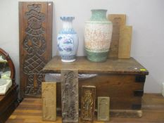 A mixed lot to include a Victorian pine twin handled trunk, a selection of specula treen moulds