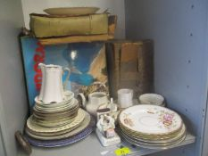A mixed lot to include mixed records, Noritake tea set, Tremar pottery and other items