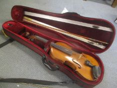A reconditioned mid 20th century violin and bow, cased