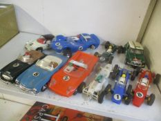 Scalextric comprising of ten cars