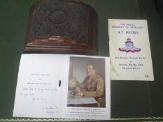 A carved Indian cigar box, together with a Christmas card, signed by Field Marshall Viscount Alan
