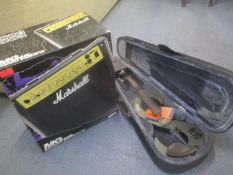 A Stagg electric violin and a Marshall MG 15DFX service amp