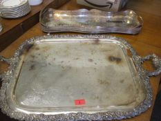 Two silver plated trays to include a large example with twin handles. Location:RAF