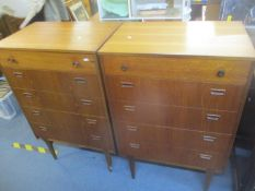 A pair of mid 20th century retro teak chests of five long drawers, 106.5h x 69cm w