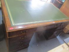 A late 19th century mahogany partners desk, 76cm high x 151cm wide