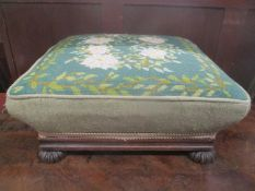 A 19th century tapestry topped footstool, 16cm h x 38.5cm w