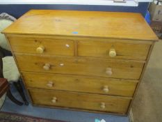 A Victorian and later pine chest of two short and three long drawers 94cm h x 109cm w
