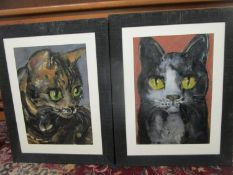 A pair of cat studies, oil on artist board, signed indistinctly to lower left corner, 48 x 34 1/2cm,