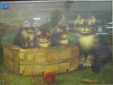TL or TC - Kittens in a basket with their mother and a ball of string, oil painting, monogram to