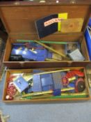 Vintage Triang Meccano to include four vintage cigarette tins containing spare parts, all housed