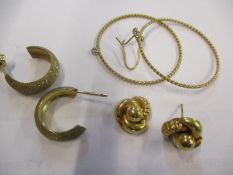 Two pairs of 9ct gold earrings and a pair of gold coloured earrings, 5.8g
