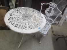 An aluminium garden white painted circular table and single chair 65cm h x 68cm h