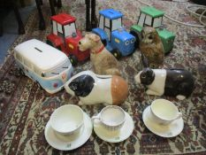 Ceramic money boxes to include a Cath Kidston terrier, a Quail Guinea pig, rabbit and owl moneyboxes