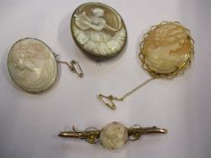 A 9ct gold and cameo bar brooch together with three cameo brooches