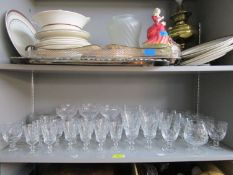 A selection of cut table glass to include Stuart Crystal set of footed soft fruit dessert bowls, and