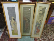 Framed and glazed Japanese woodblock prints to include Meiji reproduction of Katsukawa Shuncho, a
