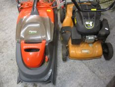 A Wolf 5.5HP Rotary mower and an electric Flymo mower Ultra Glide