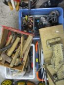 A quantity of hand tools to include Mitre saw and hammers etc (5 boxes)