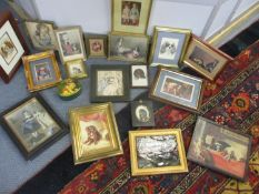 A quantity of framed and some glazed pictures and prints, mostly depicting Spaniels