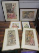 A group of six reproduction framed and glazed Japanese pictures and prints to include Shuman,