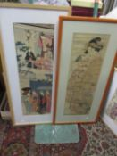 Shunsen framed and glazed woodblock print together with Meiji reproduction of Kiyonaga