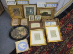 A mixed lot of pictures and prints to include portraits and framed Wedgwood Dancing Hours